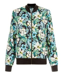 Black Tropical Floral Print Bomber Jacket  | New Look