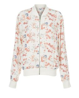 White Floral Print Bomber Jacket  | New Look