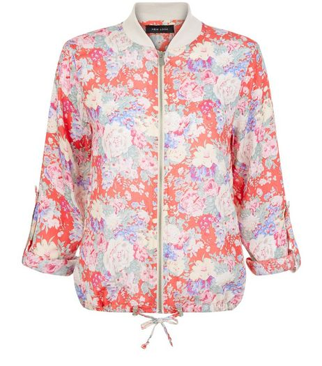 Red Floral Print Bomber Jacket  | New Look