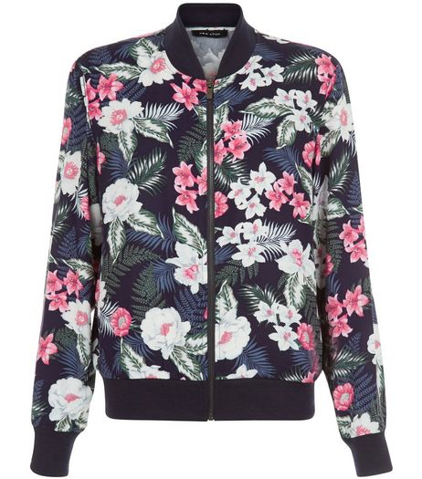 Blue Tropical Floral Print Bomber Jacket  | New Look