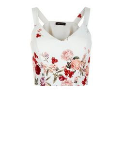White Floral Print V Neck Crop Top | New Look