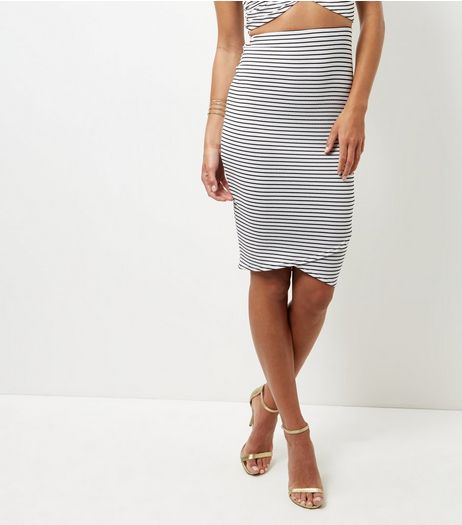 Black Stripe Wrap Front Pencil Skirt  | New Look