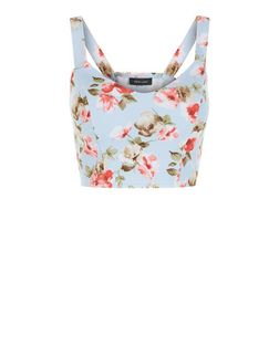 Blue Floral Print Crop Top  | New Look