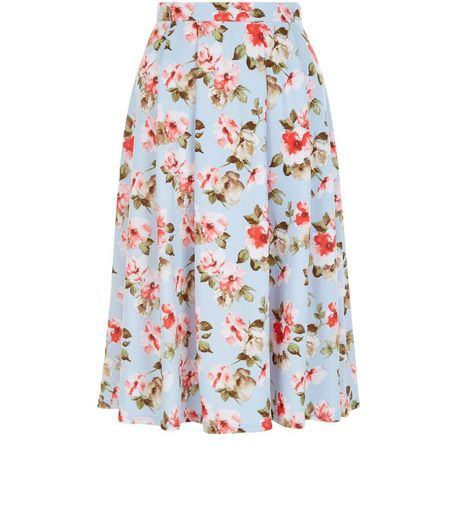 Blue Floral Print Skater Midi Skirt | New Look