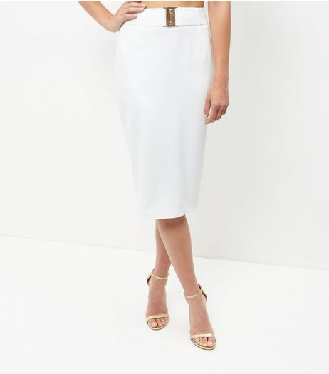 Cream Buckle Trim Pencil Skirt  | New Look
