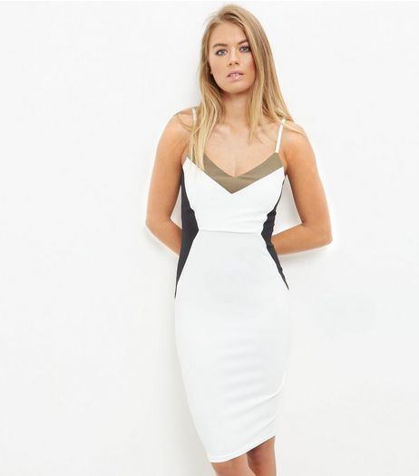 White Colour Block Strappy Bodycon Dress | New Look