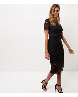 Black Premium Lace Midi Dress | New Look