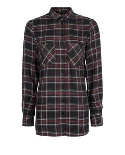 Black Check Longline Shirt | New Look