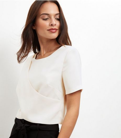 Cream Crepe Wrap Front Top | New Look