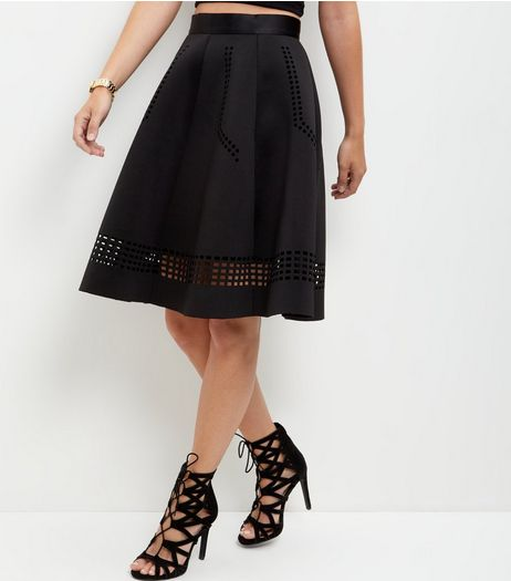 Black Scuba Laser Cut Out Trim Midi Skirt  | New Look