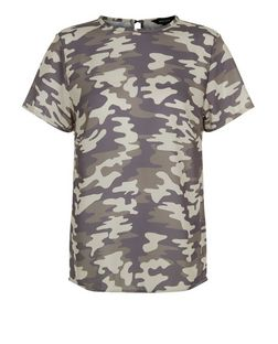 Green Camo Print Boxy T-Shirt | New Look