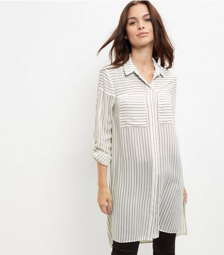 White Stripe Longline Shirt  | New Look