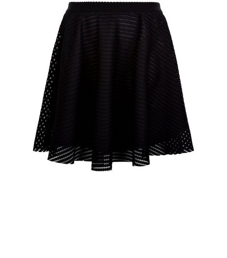 Curves Black Mesh Skater Skirt | New Look