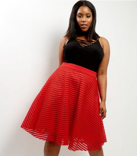 Curves Red Stripe Mesh Midi Skater Skirt | New Look
