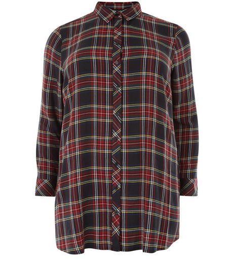 Curves Black Check Long Sleeve Shirt | New Look
