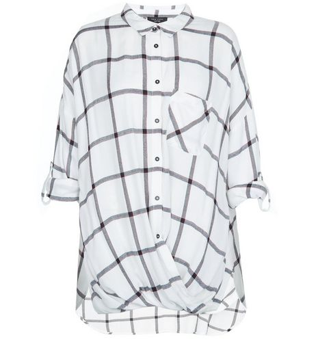 Curves White Grid Check Wrap Front Shirt | New Look
