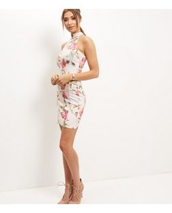 White Floral Print High Neck Bodycon Dress | New Look