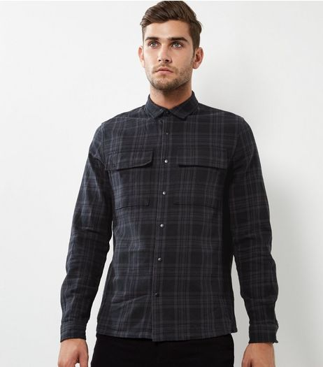 Dark Grey Check Double Pocket Long Sleeve Shirt | New Look
