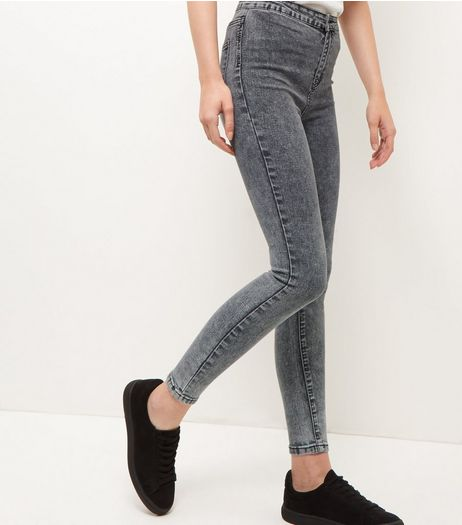 Dark Grey Acid Wash High Waist Super Skinny Jeans  | New Look