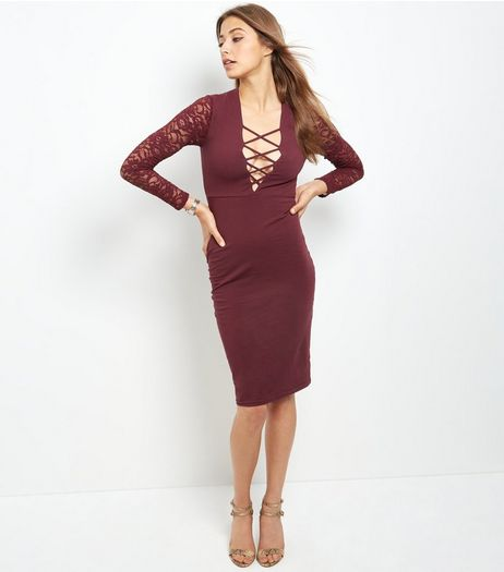 Burgundy Lattice Lace Long Sleeve Bodycon Dress  | New Look