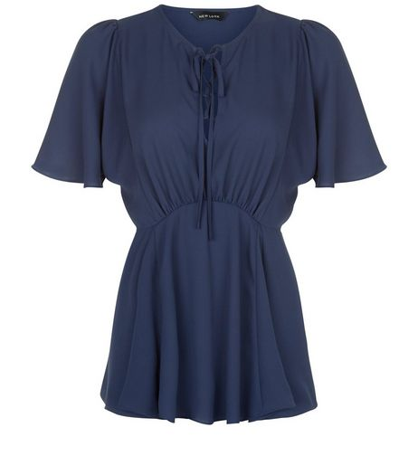 Navy Lace Up Front Peplum Top | New Look