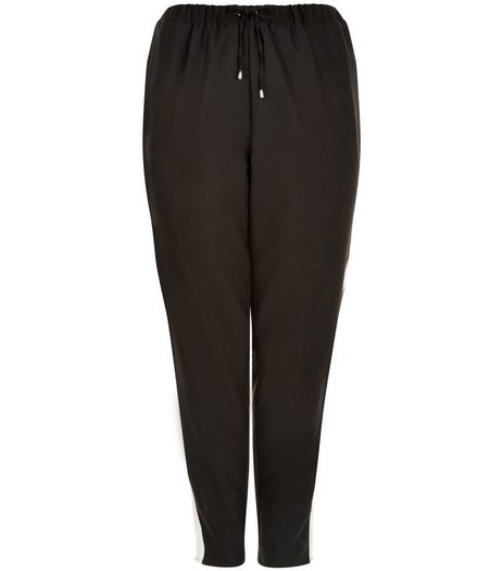 Curves Black Contrast Panel Joggers | New Look