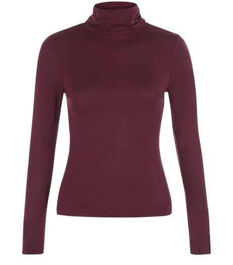 Petite Burgundy Turtle Neck Top | New Look