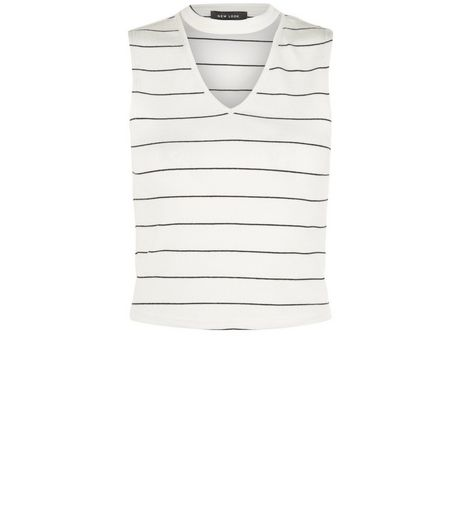 White Ribbed Stripe Funnel Neck Vest | New Look