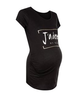 Maternity Black J'Adore My Bump Print T-Shirt | New Look