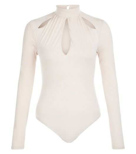 Cream Cut Out Long Sleeve Bodysuit  | New Look
