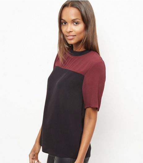 Burgundy High Neck Colour Block Swing Top | New Look