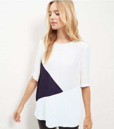 Tall White Colour Block T-Shirt | New Look