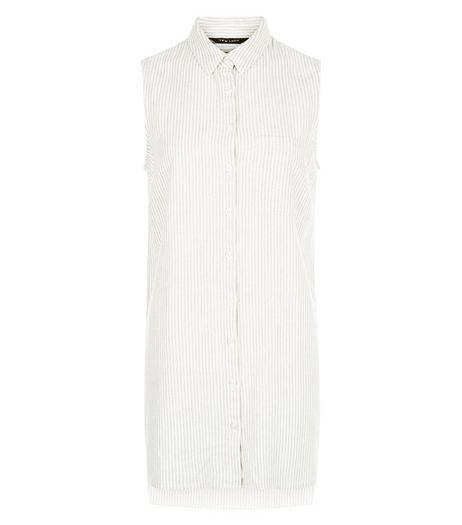 White Stripe Longline Sleeveless Shirt | New Look