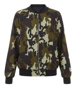 Khaki Sateen Camo Print Bomber Jacket  | New Look