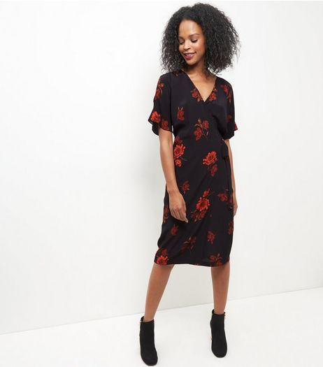 Black Floral Print Tie Waist Midi Dress  | New Look