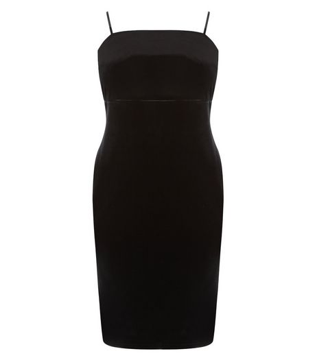 Curves Black Velvet Strappy Bodycon Dress  | New Look