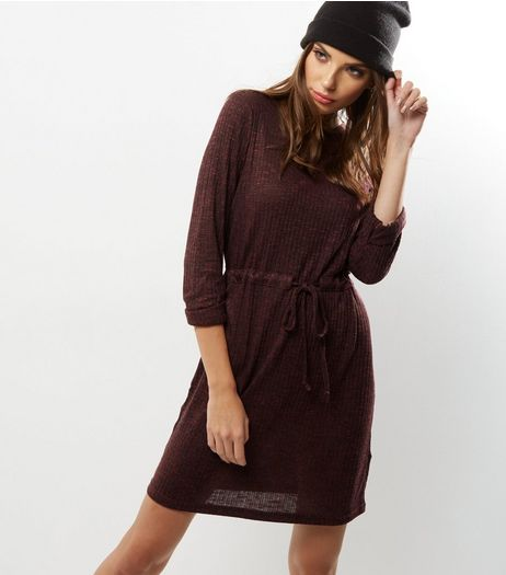 Tall Burgundy Ribbed Drawstring Waist Tunic Dress | New Look