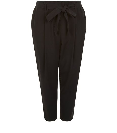 Curves Black Belted Trousers | New Look