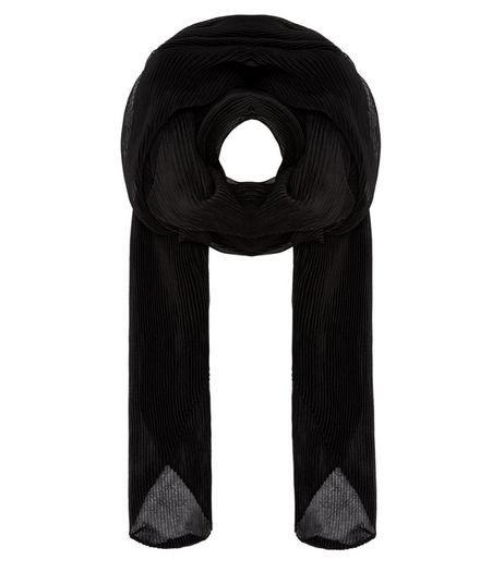 Black Pleated Longline Scarf | New Look