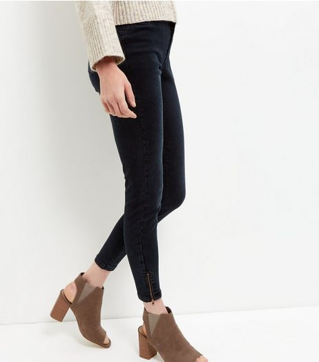 Navy Zip Hem Skinny Jeans  | New Look