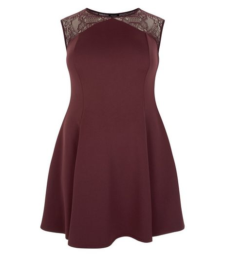 Curves Burgundy Lace Panel Skater Dress | New Look