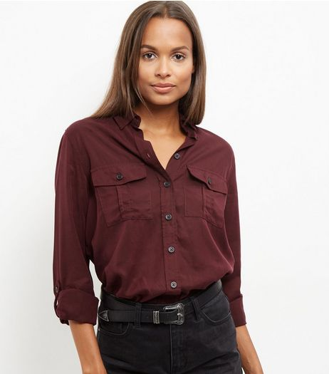 Burgundy Double Pocket Military Shirt  | New Look