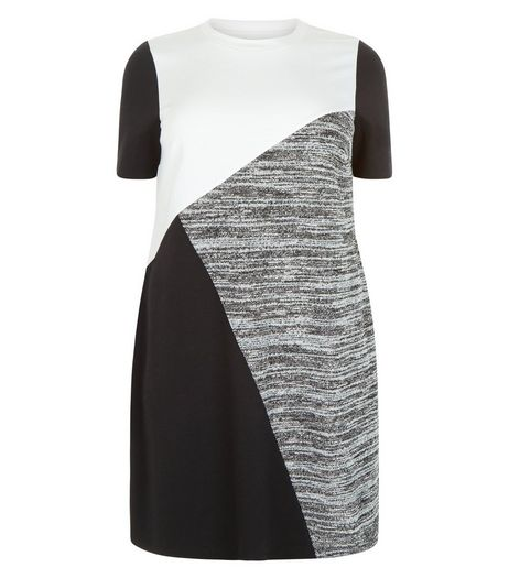 Curves Black Colour Block Tunic Dress  | New Look