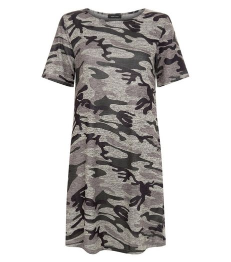 Green Camo Print Tunic Dress  | New Look