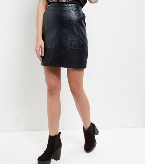 Black Textured Contrast Panel A-Line Skirt  | New Look