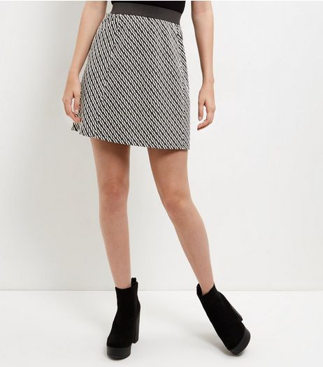Black Geo Jacquard Skater Skirt  | New Look