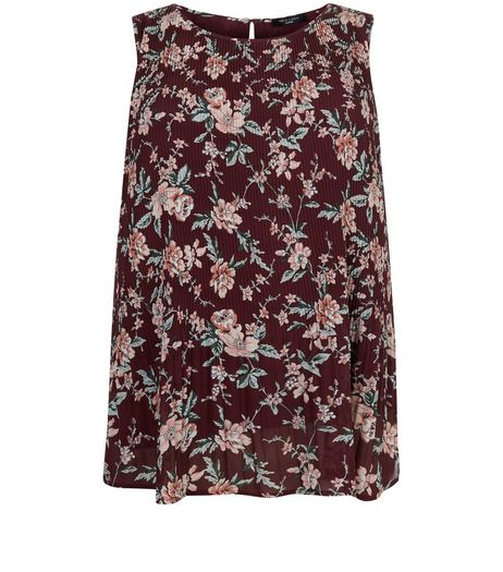Curves Red Floral Print Pleated Sleeveless Top  | New Look