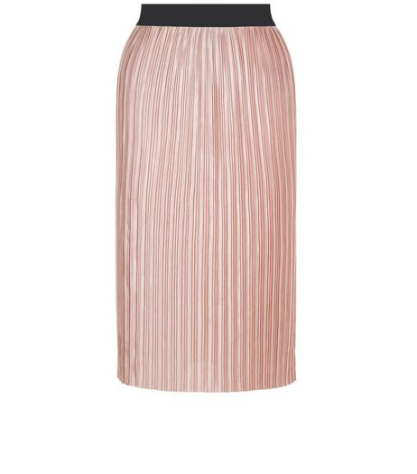 Mid Pink Sateen Pleated Midi Skirt  | New Look