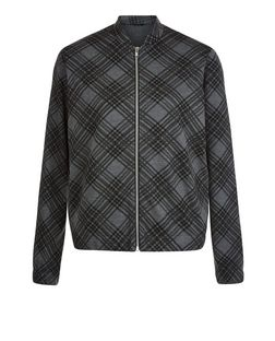 Black Check Bomber Jacket | New Look