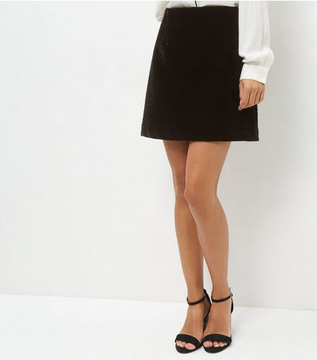 Black Embossed Velvet Skirt  | New Look